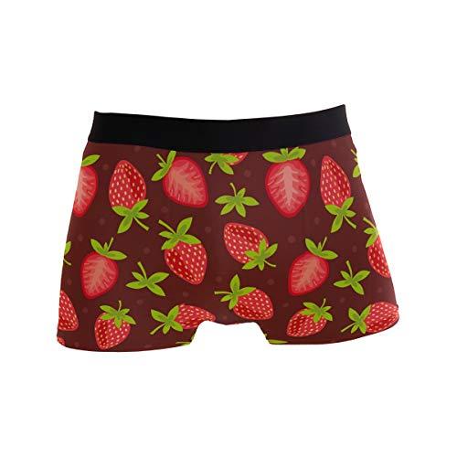 ALARGE Herren Boxershorts mit Erdbeermotiv, Kurze Unterwäsche, weiche Stretch-Unterhose für Männer und Jungen, S-XL Gr. M, Multi (Obst Herren-unterwäsche)