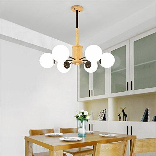 #Kronleuchter Pendelleuchte Massivholz Einfache 6 Kopf Kronleuchter Kreative Wohnzimmer Schlafzimmer Esszimmer Lampen #Kronleuchter (Farbe : Schwarz-Three-color light) -