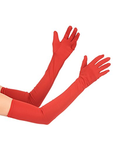KULTFAKTOR GmbH Satin Handschuhe lang rot Einheitsgröße (Rote Satin Handschuhe)