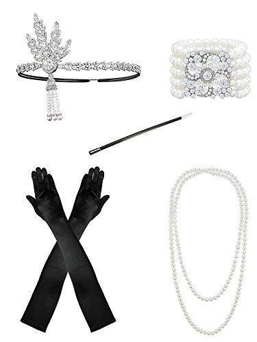 Charleston Schmuck Kostüm - Feibao 1920er Jahre Zubehörset Flapper Kostüm Charleston ausgefallene Accessoires-1920er Jahre Flapper Stirnband Perlenkette Satin Handschuhe
