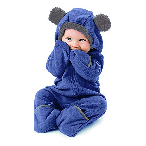 Weant Baby Strampler Mädchen 0-6 Monate Säugling Baby Playsuit Mädchen Jungen Overall Walkanzug Herbst und Winter Langarm Flauschig mit Kapuze Pullover Jumpsuit Outfits Outwear Babysachen