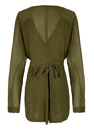 Futurino Women Solid Deep V Long Sleeve Chiffon Beach Jumpsuit Rompers Olive