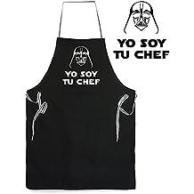 Delantal divertido y original. Parodia Darth Vader Yo soy tu padre - Yo soy tu chef. La guerra de las galaxias - Star Wars. Regalo friki. Cintas a rayas.