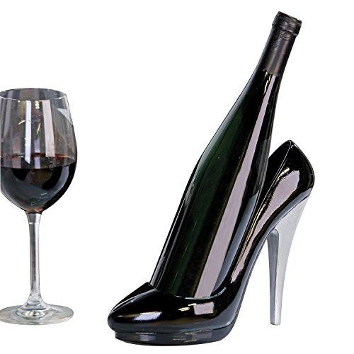Moderner Weinflaschenhalter Lady Pumps High Heels aus Poly schwarz/silber Höhe 20 cm
