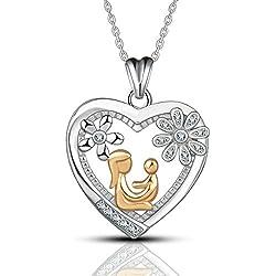 AEONSLOVE Collar Oro Bicolor Plata de ley 925 con Circonita Mamá abraza al niño Flor Corazón Colgante Cadena