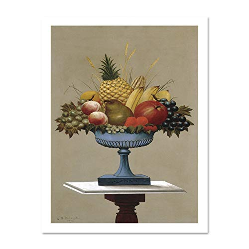 Doppelganger33 LTD Painting Still Life Raleigh Fruit Blue Footed Bowl Replica Large Framed Art Print Poster Wall Decor 18x24 inch Supplied Ready to Hang White-footed Bowl