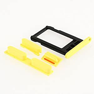 Side Volume+mute Switch+power on Off Buttons+sim Card Tray Slot for Iphone 5c (Yellow)