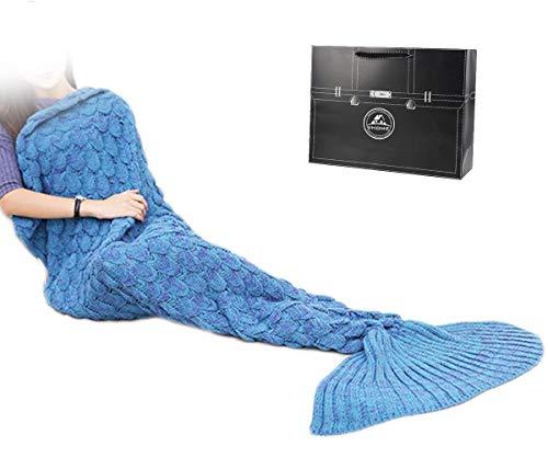 Decke Geschenke Beste Freundin - Personalisierte Handgemacht Gestrickt Warmes Wohnzimmer Sofa Decke Erwachsene Mädchen Für Geburtstagsgeschenk Valentinstag (S1-Hell Blau) ()