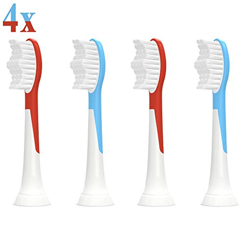 YanBan 4er-Pack Mini Sensitive Zahnbürstenaufsatz für Philips Sonicare Kinder Schallzahnbürste, HX6322/04 HX6044/33 HX6032/33 HX6034/33 Aufsätze, Kinderfreundliche Ersatzbürsten Bürstenköpfe