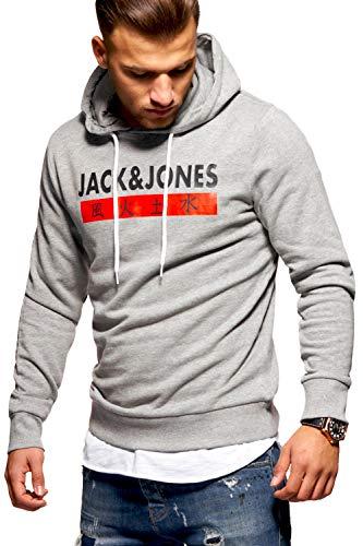 JACK & JONES Herren Hoodie Kapuzenpullover Sweatshirt Pullover Print Streetwear (Large, Light Grey Melange)