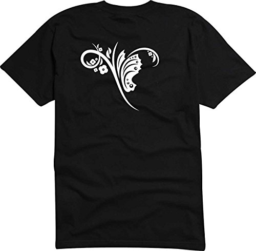 T-Shirt D161 T-Shirt Herren schwarz mit farbigem Brustaufdruck - Tribal mit Ranke und Tieren Weiß