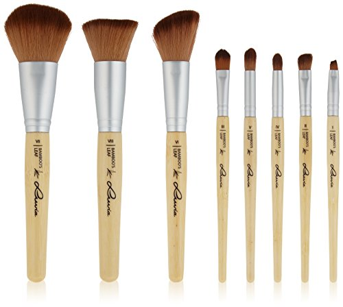 Luvia Cosmetics Make-Up Pinsel Set aus nachhaltigem Bambus mit Tasche, 1er Pack (1 x 8 Stück)