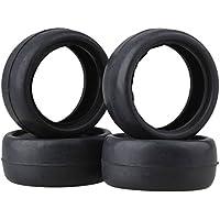 Negro RC 1:10 On-Road Racing Car llantas de goma superficie lisa para rueda 65 mm OD paquete de 4
