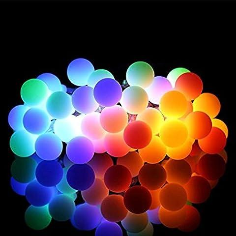 30LED Solar Home Lichterkette 6m 8Leuchtmodi Wasserdicht Bubble Frosted Kugel Lichterkette Ambiente Beleuchtung für Weihnachten Garten Terrasse Party Path Yard Dekorationen Indoor Outdoor (rot + gelb + blau + grün)