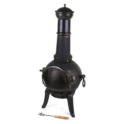 Marko Outdoor 112cm Garden Cast Iron Steel Chimenea Chiminea Chimnea Patio Heater Fire Pit Black