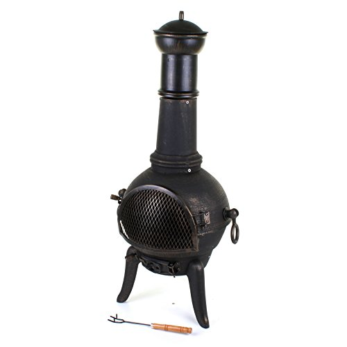 Marko Outdoor 112cm Garden Cast Iron Steel Chimenea Chiminea Chimnea Patio Heater Fire Pit Black