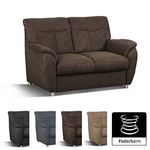Cavadore 2er Sofa Sunuma / 2-Sitzer Couch mit Federkern passend zur Polstergarnitur Sunuma / Modernes Design / Größe: 140 x 91 x 90 cm (BxHxT) / Farbe: Dunkelbraun