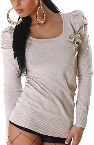 Jela London Damen Schleifen Longpulli Pullover Puff-Ärmel Rüschen Pullover Sweatshirt Longsleeve Rücken-Dekolleté Ausschnitt Stretch, Beige