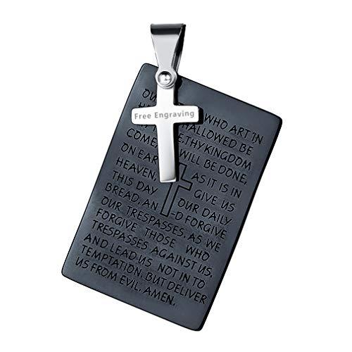 FaithHeart Dog Tag Kette Army Kette Heilige Halskette mit Gravur mit Vaterunser Hundemarke Anhänger Männer Schwarz, persoenlich Namensgravur