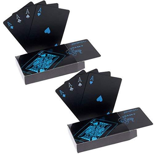 2 x Playing Cards Schwarze Wasserdichtes Pokerkarten Plastik Spielkarten aus PVC Profi Premium Spielkarten für Texas Holdem Poker - 1 Gold & 1 Silver Back