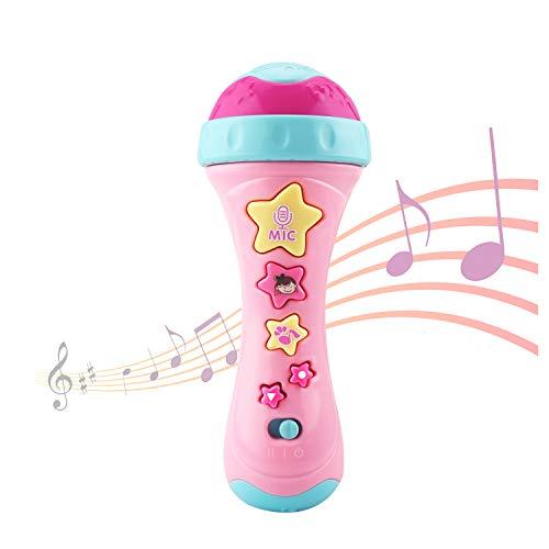 Ellien Mikrofon für Kinder, Kinder mikrofon mit Long-Recording & Voice Change, Musik Karaoke Spielzeug und Tragbares Karaoke Zuhause KTV mit Gesang für Jungen und Mädchen (Rosa)