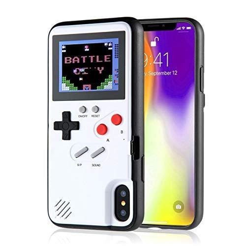 Esoar Retro 3D Gameboy Design Style Silikonhülle mit 36 Kleinen Spielen, Farbbildschirm, Videospiel-Cover (Weiß,iPhone XS MAX) - Taxi Kleine Haustier