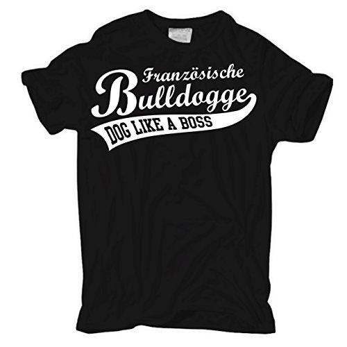 Männer und Herren T-Shirt Französische Bulldogge (mit Rückendruck) Schwarz
