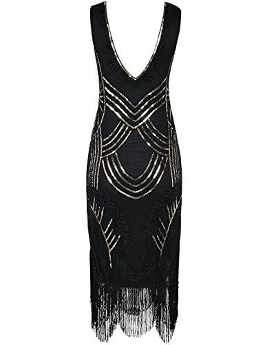 PrettyGuide Damen 1920er Gatsby Art Deco Perlen Franse Flapper Charleston Kleid Gold