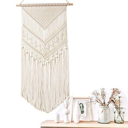Koitoy Makramee Wandbehang Boho Wanddeko Wandteppiche aus Baumwolle Handgefertiges Dekorativer Beiger für Wohnzimmer Dekoration (Beige)