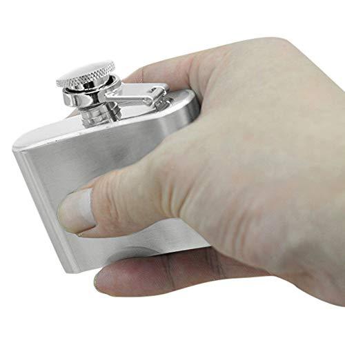 TAOtTAO Stainless Steel Flask Edelstahl-Taschen-Flachmann-Alkohol-Whisky-Likör-Schrauben-Kappe 2 Unze / 3.5oz (A)