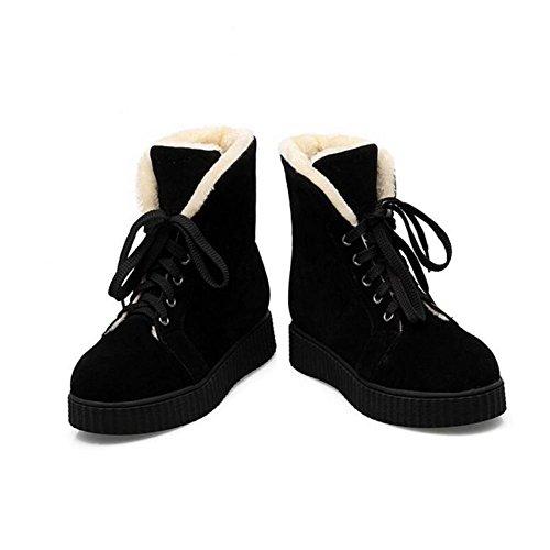 WYWQ Stivali da neve con tacco basso fondo spesso antiscivolo 34-42 Stivali da donna di grandi dimensioni inverno donna con tacco basso Tacco piatto con tacco basso black