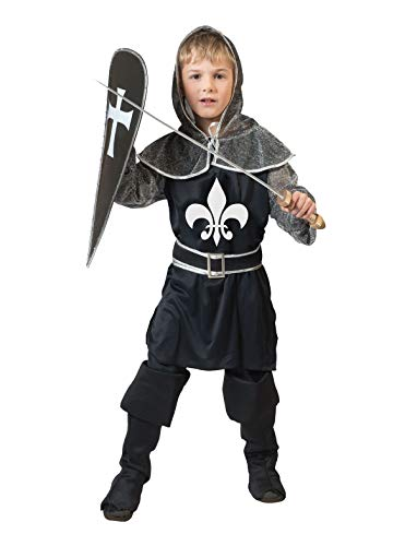 TrendClub100® Ritter Kostüm für Jungs, Ritterkostüm Dark Knight Schwarzer Ritter (K, 140) (Schwarze Kostüm Für Jungs)