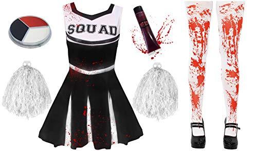 ILOVEFANCYDRESS Zombie Cheerleader KOSTÜM VERKLEIDUNG= 5 Farben+6 GRÖßEN=MIT+OHNE BLUTIGE Strumpfhose=HAT DIE Aufschrift -Squad + Make UP+Pompoms+KUNSTBLUT=MIT Strumpfhose/SCHWARZES Kleid-SMALL