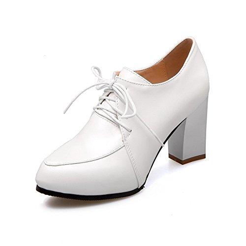 Légeres Chaussures Blanc Couleur Unie Pointu Femme Pu Cuir Haut à Lacet VogueZone009 Talon q7PvBxI