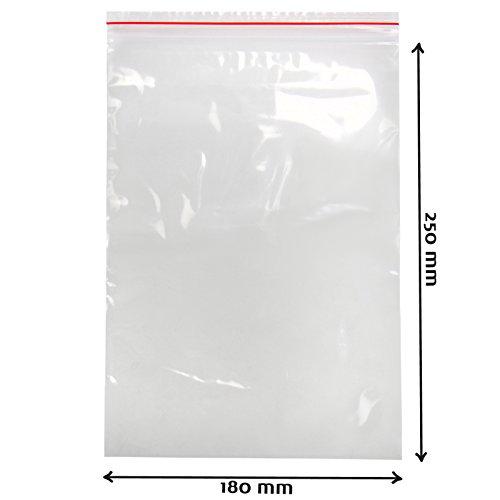 Transparente LDPE Druckverschlussbeutel 50 uq in verschiedenen Größen Plastikbeutel Plastiktüten Tütchen Beutel Folienbeutel Schnellverschluss Tüten, Menge:1000, Größe:180 x 250 mm