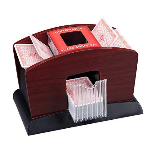 Relaxdays Kartenmischer Elektrisch, Holz, 4 Decks, Kartenmischmaschine zum Mischen von Karten, schwarz-braun