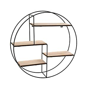 versa 20850021 rundes wandregal metall holz 45x11x45. Black Bedroom Furniture Sets. Home Design Ideas