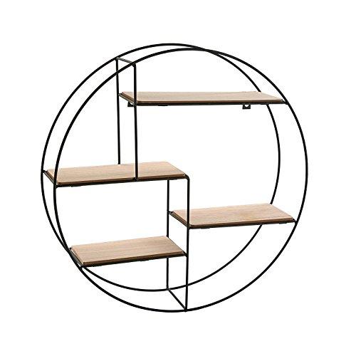 Versa 20850021 Estantería redonda colgar pared, 45x11x45,Metal y madera,Oficina