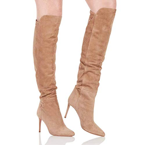 Xiaodun77 Frauen Oberschenkel hohe Stiefel Stiletto Stiefel dünne Ferse Stiefel Oberschenkel hohe Stiefel mit Absatz Damen Heel Damen Overknee Stiefel,Schwarz,34 (Boot Breites Kalb Ultra)