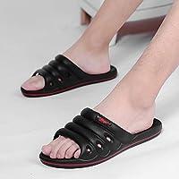 fankou Home Slippers Men and Indoor Household Plastic Soft, Non-Slip Bath Light Bathroom Slippers Summer Stay Cool Slippers,41, Black