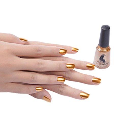 Spiegel Nagellack, Momola Fantastische und super helle Überzug Metall Farbe Edelstahl Spiegel Silber Nagellack für Nail Art (Gold) -