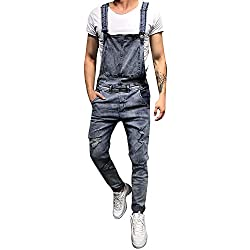BaZhaHei Vaqueros Hombre Rotos Pantalones de Jeans Mezclilla Jumpsuit Casual de Hombres Lavar Pantalones de Bolsillo Rotos Pantalones de Liga Petos general con pantalones casuales vaqueros para hombre