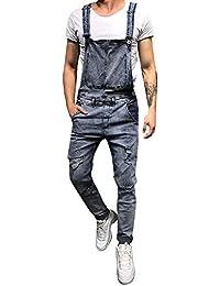 Pantalón Chandal Hombre Mono Vaquero Mezclilla Jumpsuit Casual Pantalones  con Agujeros Suelto para Hombre Roto Talla 25c870dd49d0