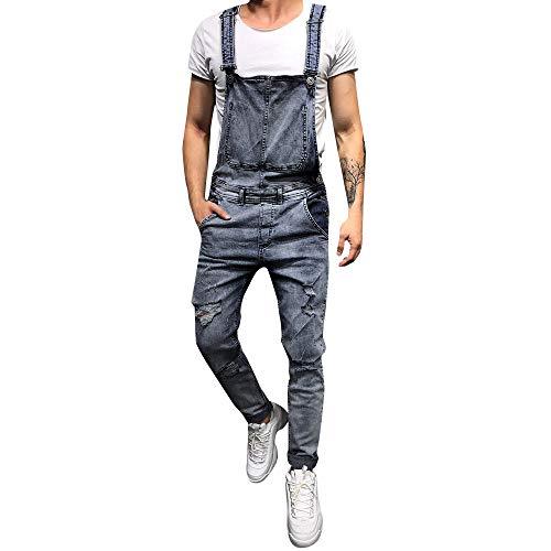 UFACE Herren Jeans Latzhose Skinny Fit Lang Jeanshose Destroyed Denim Overalls Streetwear Hosenträgerhose -