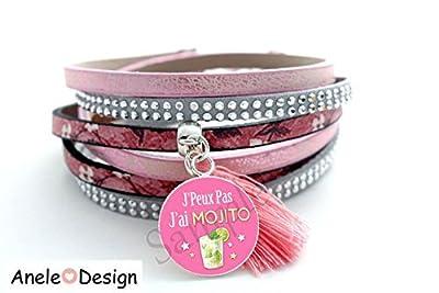 Bracelet manchette femme Mojito cocktail - rose