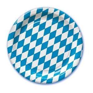 """Preisvergleich Produktbild 10 Teller, Pappe rund Ø 23 cm """"Bayrisch Blau"""" Raute Oktoberfest blau weiss"""