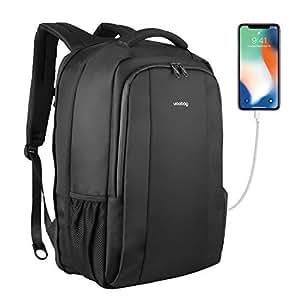 Fubevod Uoobag Business Laptop Backpack Sottile antifurto Computer di Viaggio Zaini Borsa per Laptop Impermeabile per Gli Uomini/Donne con Porta USB di Ricarica 17 Pollici Nero