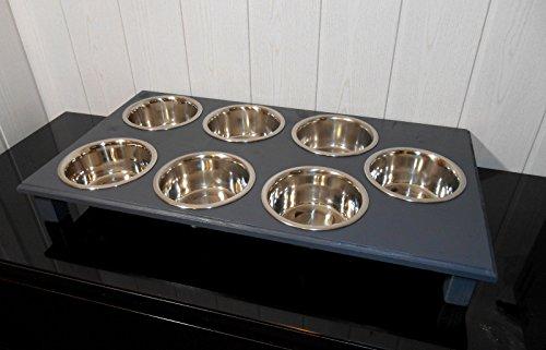 Welpenbar/ Welpennäpfe / Welpenfutter, tolle Futterbar mit 7 Edelstahlnäpfen mit je 750 ml. Handgefertigtes Hundezubehör und Tierbedarf. Lackierung in anthrazit! (w2)