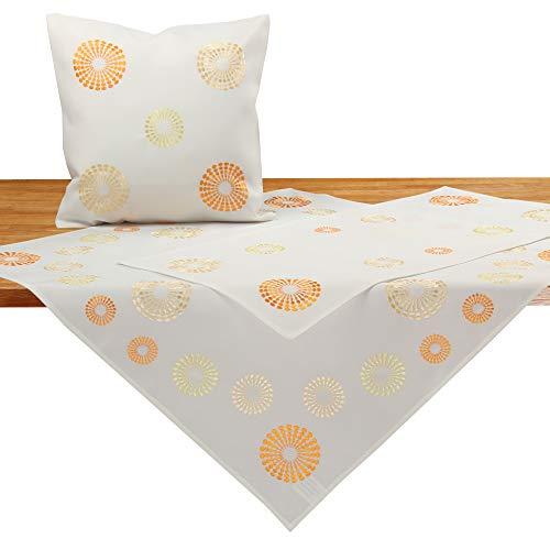 Quinnyshop Moderne Kreise Kringel Stickerei Tischläufer ca. 40 x 110 cm Polyester, Creme/Ecru