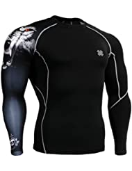 Fixgear Homme Femme Skin Tight Wolf Printed Baselayer Running Tee Shirts Black